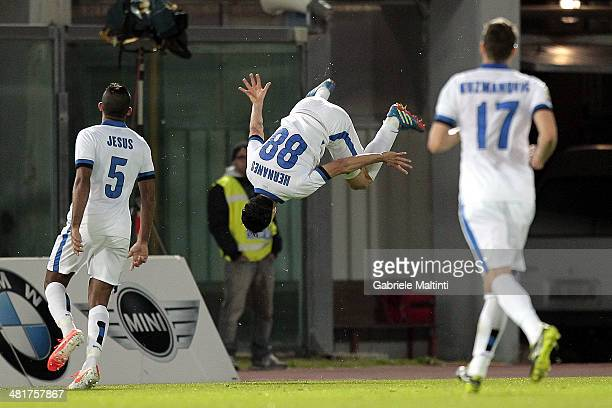 Hernanes of FC Internazionale Milano celebrates after scoring a goal during the Serie A match between AS Livorno Calcio and FC Internazionale Milano...