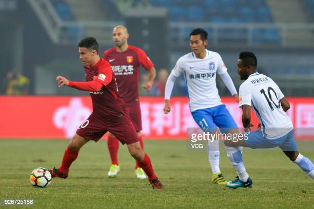 Hernanes of Hebei China Fortune controls the ball during the 2018 Chinese Football Association Super League first round match between Tianjin Teda...