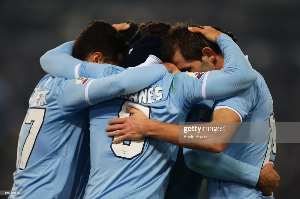Hernanes (C) of SS Lazio celebrates with team-mates after scoring their team's second goal during the TIM Cup match between S.S. Lazio and Calcio Catania at Stadio Olimpico on January 8, 2013 in Rome, Italy.