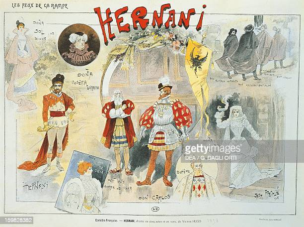 Hernani 1890 poster for the performance at the ComedieFrancaise of the play by Victor Hugo design of Abeille Paris Musée Des Arts Decoratifs