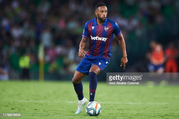 Hernani Fortes of Levante UD in action during the Liga match between Real Betis Balompie and Levante UD at Estadio Benito Villamarin on September 24...
