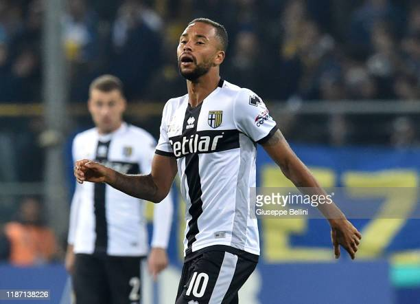 Hernani Jr of Parma Calcio in action during the Serie A match between Parma Calcio and AS Roma at Stadio Ennio Tardini on November 10 2019 in Parma...