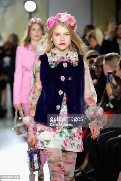 Hero Douglas walks the Dolce Gabbana Italian Christmas catwalk show at Harrods on November 2 2017 in London England