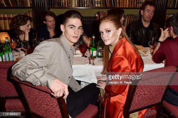 Hero Fiennes and Abigail Cowen attend Salvatore Ferragamo Dinner Party during Milan Fashion Week Autumn/Winter 2019/20 on February 23 2019 in Milan...