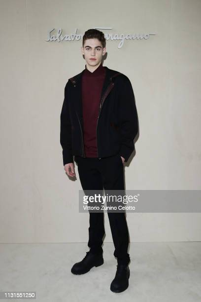 Hero Fiennes attend the Salvatore Ferragamo show during Milan Fashion Week Autumn/Winter 2019/20 on February 23, 2019 in Milan, Italy.