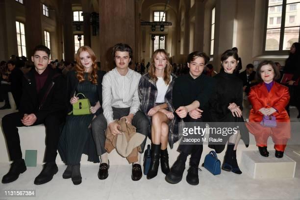 Hero Fiennes Tiffin Abigail Cowen Joe Keery Maika Monroe Charlie Heaton Natalia Daier and Sinéad Burke attend the Salvatore Ferragamo show during...