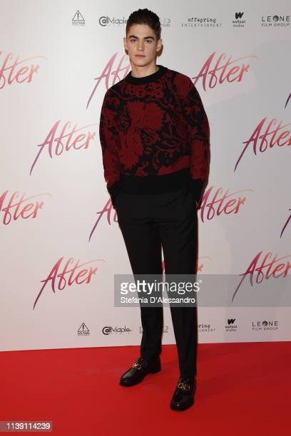 """Hero Fiennes Tiffin attends the photocall for """"After"""" at on March 29, 2019 in Milan, Italy."""