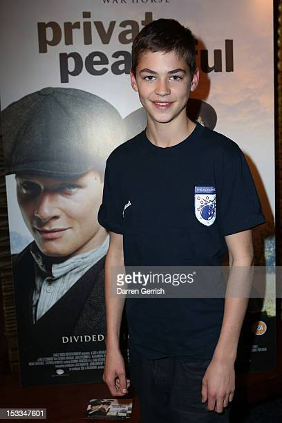 Hero Fiennes Tiffin attends the premiere of Private Peaceful at the Curzon Mayfair on October 3 2012 in London England