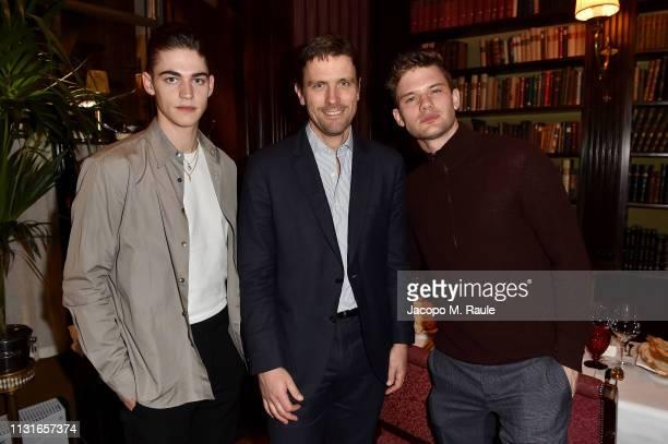 Hero Fiennes Tiffin James Ferragamo and Jeremy Irvine attend Salvatore Ferragamo Dinner Party during Milan Fashion Week Autumn/Winter 2019/20 on...