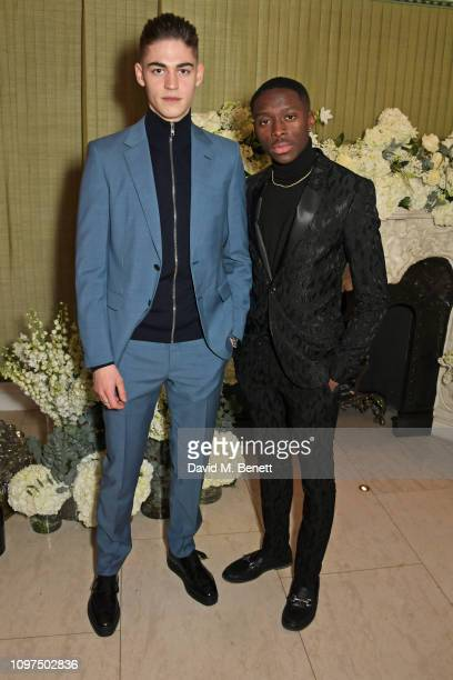 Hero FiennesTiffin and guest attend the British Vogue and Tiffany Co Celebrate Fashion and Film Party at Annabel's on February 10 2019 in London...