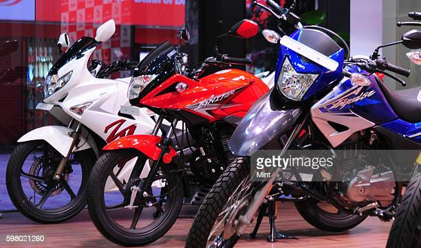 Hero Motor Corp products on display in there showroom at Vasant Vihar on February 13 2013 in New Delhi India