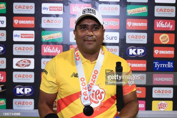 Hero of the match Samit Patel of Trent Rockets during The Hundred match between Welsh Fire Men and Trent Rockets Men at Sophia Gardens on August 06,...