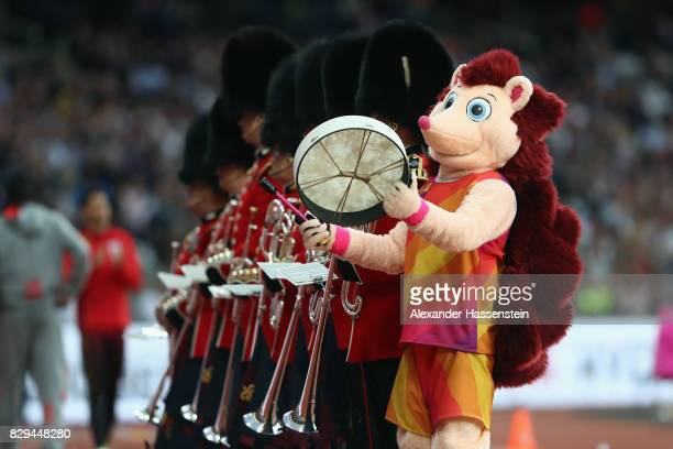Hero the Hedgehog stands along side the band during day seven of the 16th IAAF World Athletics Championships London 2017 at The London Stadium on...