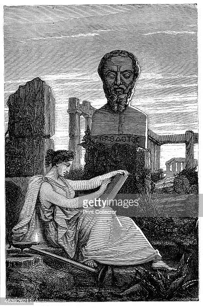 Herodotus, Ancient Greek historian, 1866. Figure of Herodotus , known as 'The Father of History', based on an antique bust.