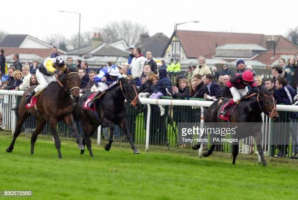 Herodotus and jockey Philip Robinson go onto win the Easter Stakes at Kempton Park Gryffindor with jockey Brett Doyle finished second while Black...