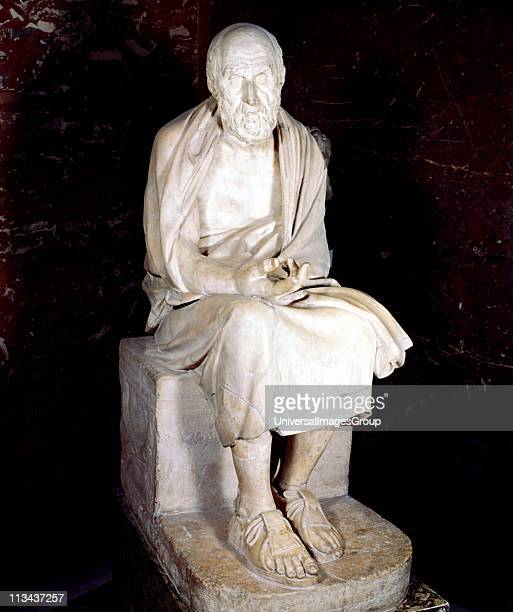 Herodotus Greek historian, often called the Father of History. Statue of seated man said to be Herodotus. Louvre, Paris