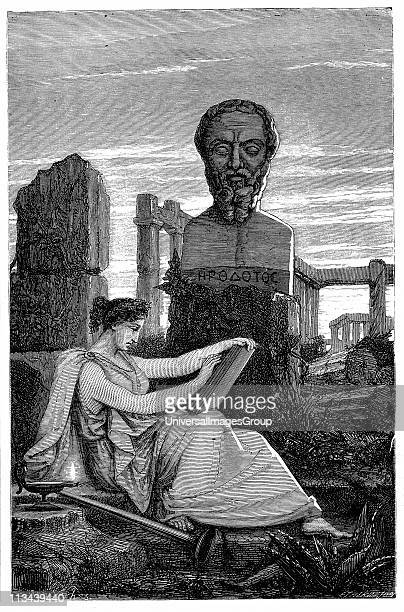 Herodotus , historian, called the Father of History. Figure of Herodotus based on an antique bust . Wood engraving 1866.