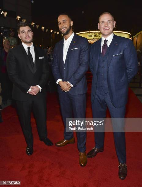 Heroes Alek Skarlatos Anthony Sadler and Spencer Stone arrive at the premiere of Warner Bros Pictures' The 1517 to Paris at Warner Bros Studios on...