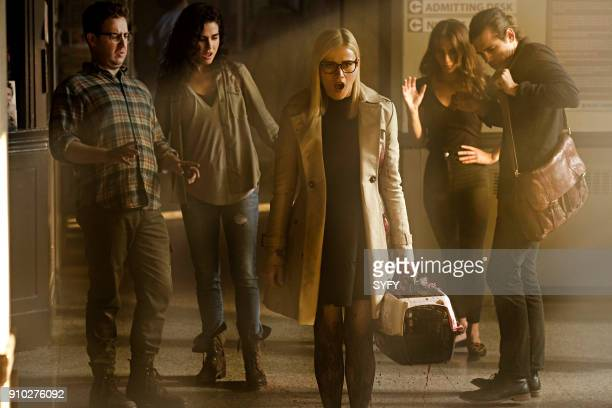 THE MAGICIANS Heroes and Morons Episode 302 Pictured Trevor Einhorn as Josh Hoberman Jade Tailor as Kady OrloffDiaz Olivia Taylor Dudley as Alice...