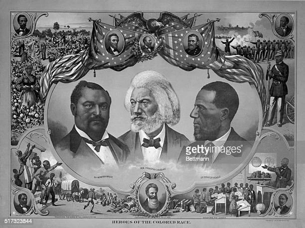 Heroes of Black History Frederick Douglass with exSenator Revels on right and exSenator Bruce on the left surrounded by scenes of black history...