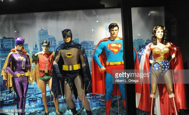 "Heroes on display: Batgirl, Robin, Batman, Superman and Wonder Woman at the 20th Century Superhero Legends Exhibit ""Dedicated To Fighting Evil""..."