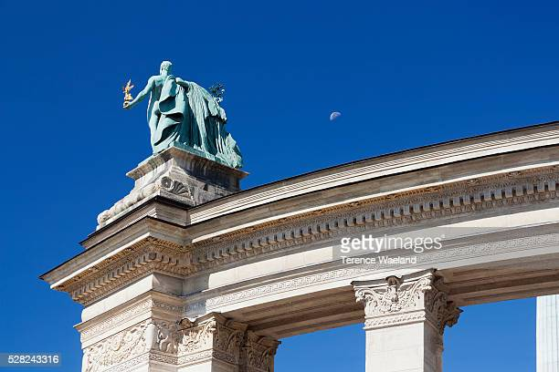 heroes' square memorial; budapest, hungary - terence waeland stock pictures, royalty-free photos & images