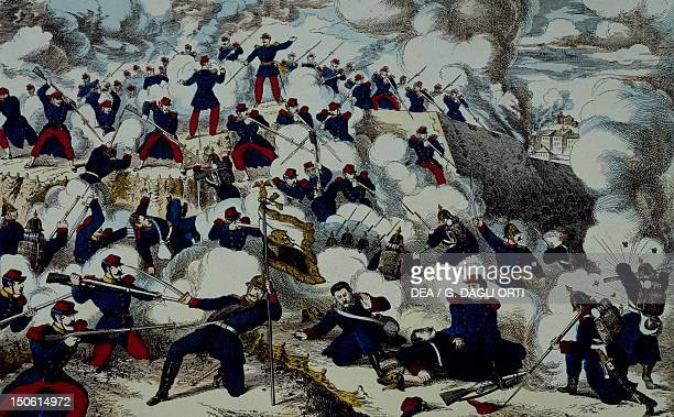 Heroic defense of Belfort by Colonel Denfert, Epinal print. Franco-Prussian War, France, 19th century.