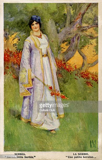 'Heroic Little Serbia' British postcard of World War One Showing personification of Serbia as woman in traditional dress 'Our Fair Allies' series...