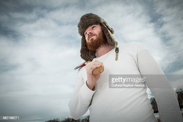 heroic portrait of young man holding an axe - hero and not superhero stock pictures, royalty-free photos & images