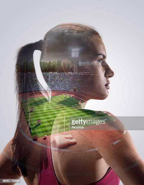 heroic sprinter portrait - all weather running track stock pictures, royalty-free photos & images