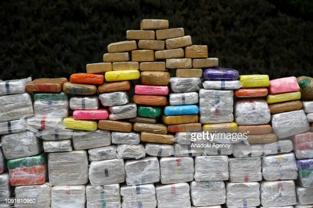 Heroin packages seized by Turkish police are being displayed Vatan police station's yard after an antidrug operation in Istanbul Turkey on January 31...