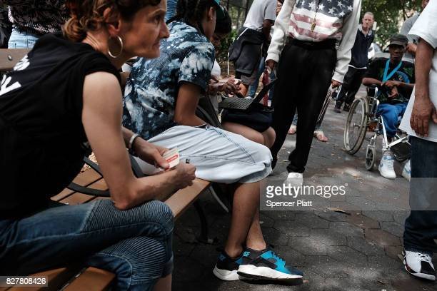 Heroin users wait to be interviewed by John Jay College students of Criminal Justice as part of a project to interview Bronx drug users in order to...