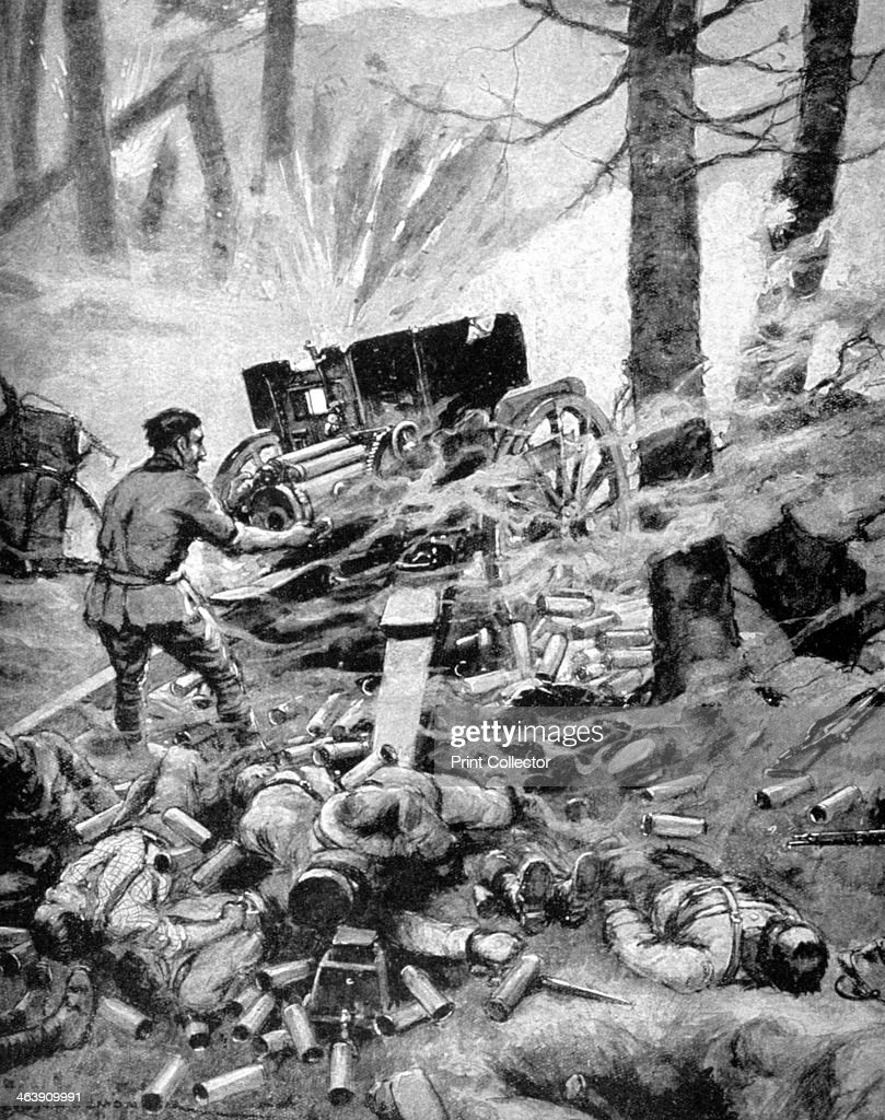 'Heroism of a Italian 75mm Battery', World War I, 1915. A print from Le Pays de France, 30 September 1915.