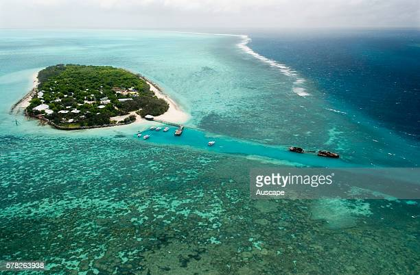 Heron Island coray cay with resort and research station Its fringing platform reef of significant biodiversity supports around 900 of the 1500 fish...