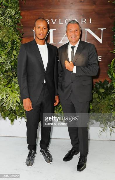Heron Preston and JeanChristophe Babin attend the BVLGARI MAN WOOD ESSENCE event at Sky Garden on July 10 2018 in London England