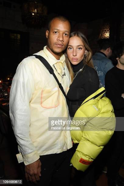 Heron Preston and Sabrina Albarello attend Heron Preston + UGG Paris Fashion Week Dinner At Le 404 Restaurant as part of Paris Fashion Week on...