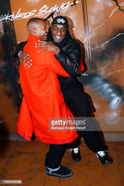 Heron Preston and Stylist Virgil Abloh pose after the Louis Vuitton Menswear Fall/Winter 2019-2020 show as part of Paris Fashion Week on January 17,...