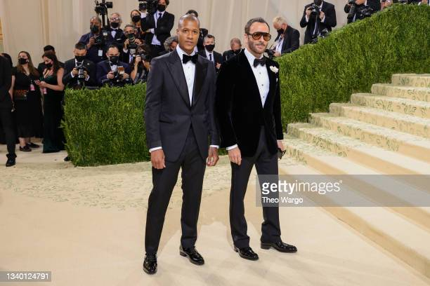 Heron Preston and Tom Ford attend The 2021 Met Gala Celebrating In America: A Lexicon Of Fashion at Metropolitan Museum of Art on September 13, 2021...