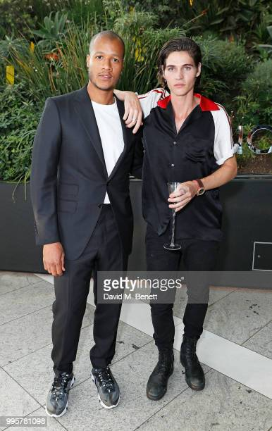 Heron Preston and Will Peltz attend the BVLGARI MAN WOOD ESSENCE event at Sky Garden on July 10 2018 in London England