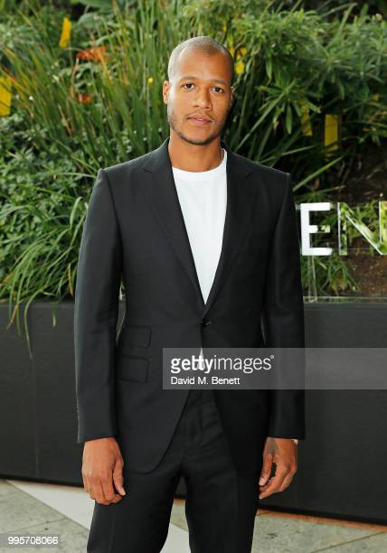 Heron Preston attends the BVLGARI MAN WOOD ESSENCE event at Sky Garden on July 10 2018 in London England