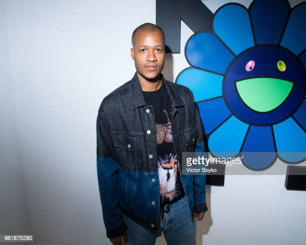 Heron Preston attends the 'Murakami x Abloh Technocolo 2' Press Preview as part of Paris Fashion Week on June 22 2018 in Paris France