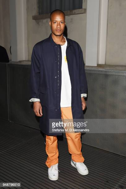 Heron Preston attends the opening event of Torre at Fondazione Prada on April 19 2018 in Milan Italy