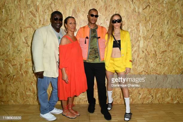 Heron Preston , his girlfriend Sabrina Albarello an his parents attend the Off-White Menswear Spring Summer 2020 show as part of Paris Fashion Week...
