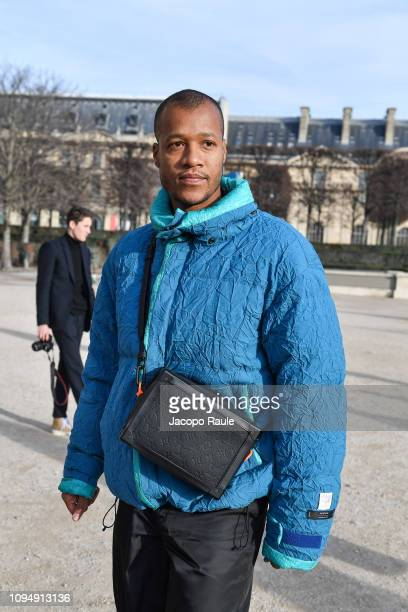 Heron Preston is seen arriving at Off White fashion show during Paris Fashion Week on January 16, 2019 in Paris, France.