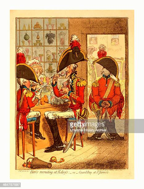 Hero's Recruiting At Kelsey's Or Guard Day At St James's Gillray James 17561815 Engraver London Engraving 1797 Two Officers On A Tall Lanky Elderly...