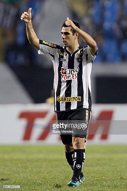 Herrera of Botafogo celebrate scored goal againist Vasco during a match as part of Serie A 2011 at Engenhao stadium on August 07, 2011 in Rio de...