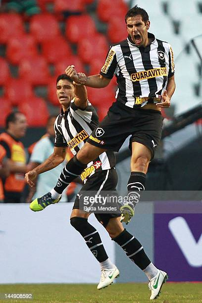 Herrera of Botafogo celebrates a scored goal aganist Sao Paulo during a match between Sao Paulo and Botafogo as part of Serie A 2012 at Engenhao...
