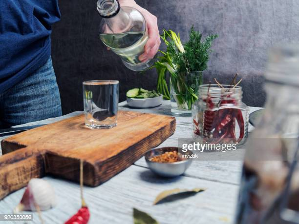 herring and vodka - salted stock photos and pictures
