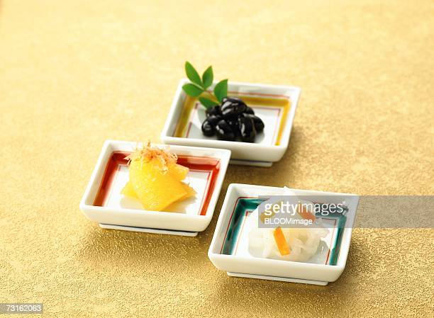 herring roe,simmered black beans, japanese pickles - osechi ryori stock pictures, royalty-free photos & images