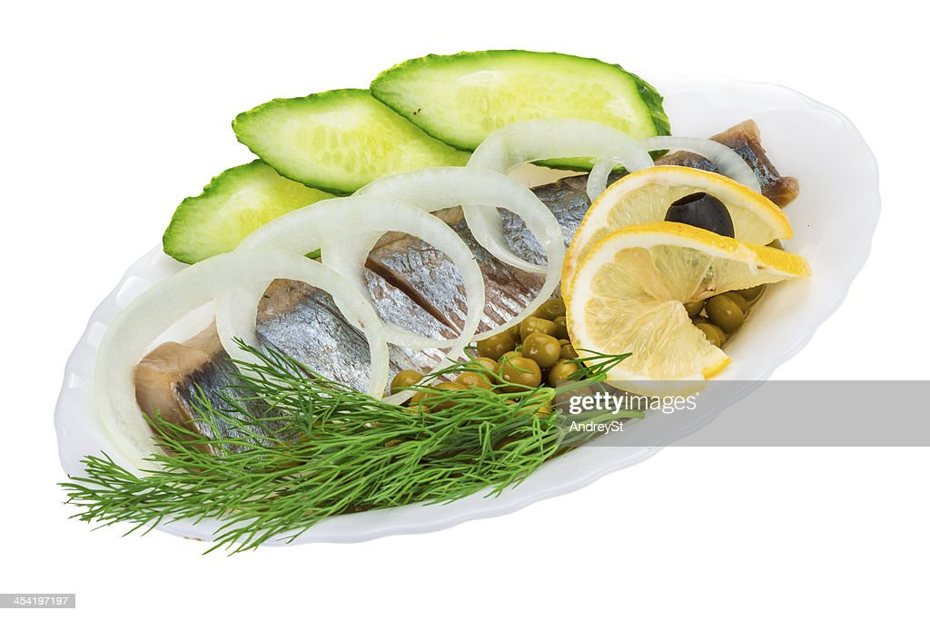 Herring with dill and onion : Stock Photo